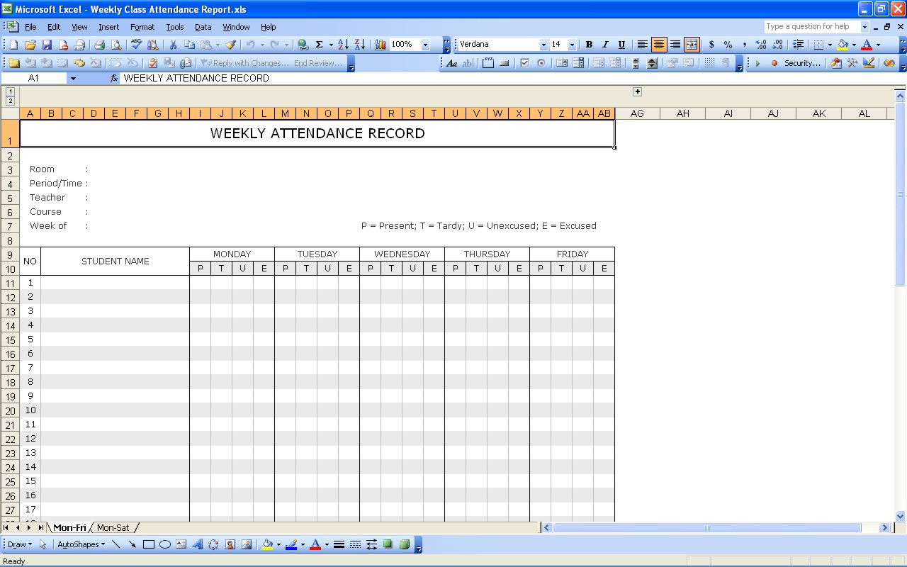 Student Attendance Record | Excel Templates