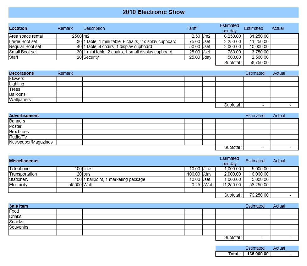 corporate budget template excel - event budget excel templates
