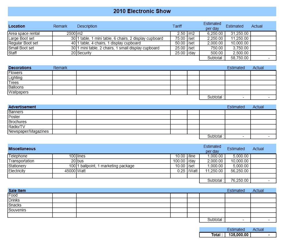 Event Budget » ExcelTemplate.net