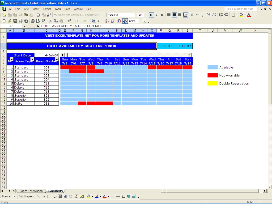 Booking calendar excel templates for Booking hotel