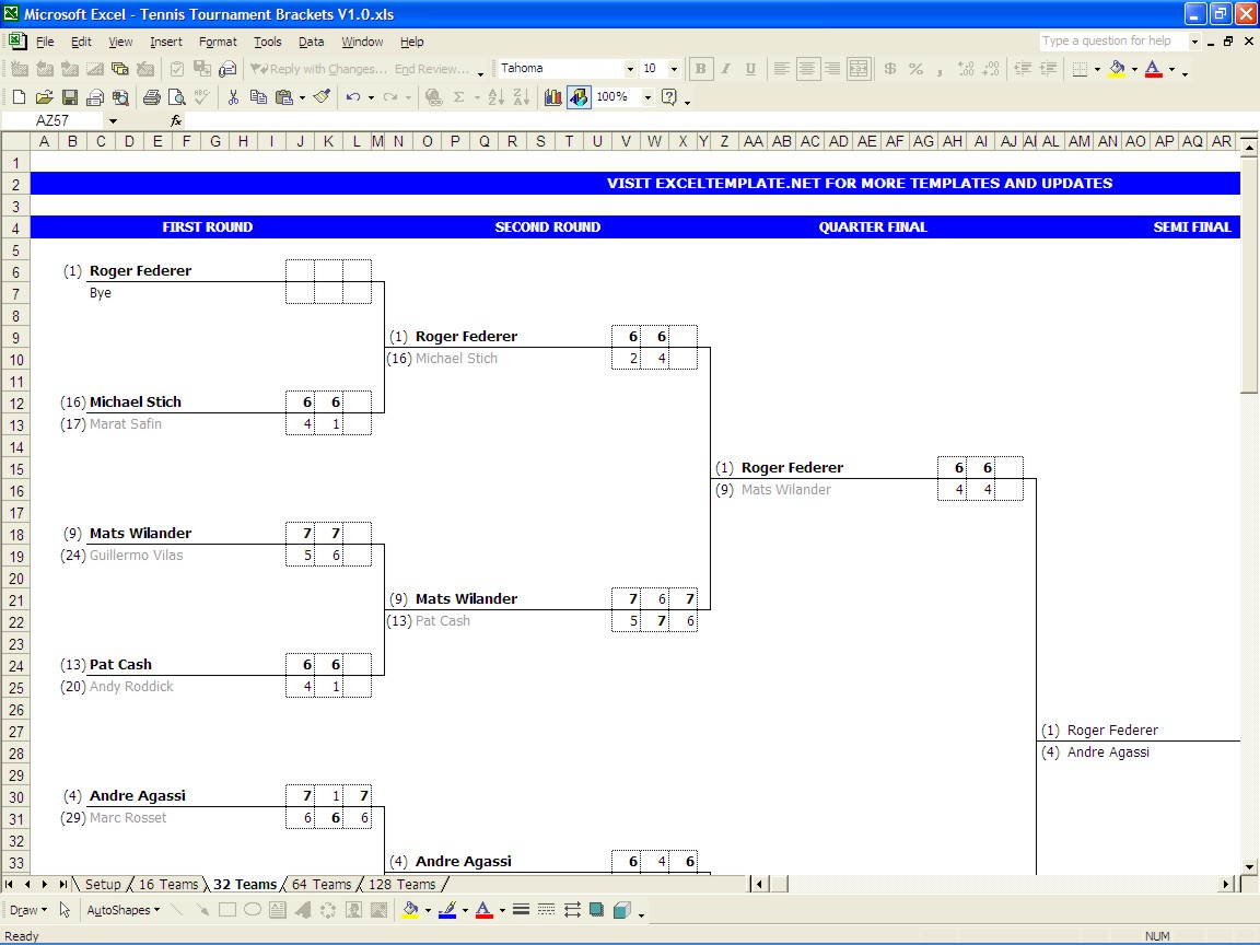 Single and double elimination tournament bracket creator for Table tennis tournament template
