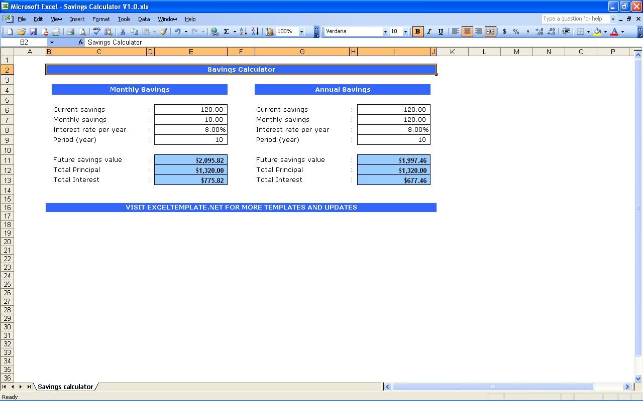 Savings Calculator Excel Templates