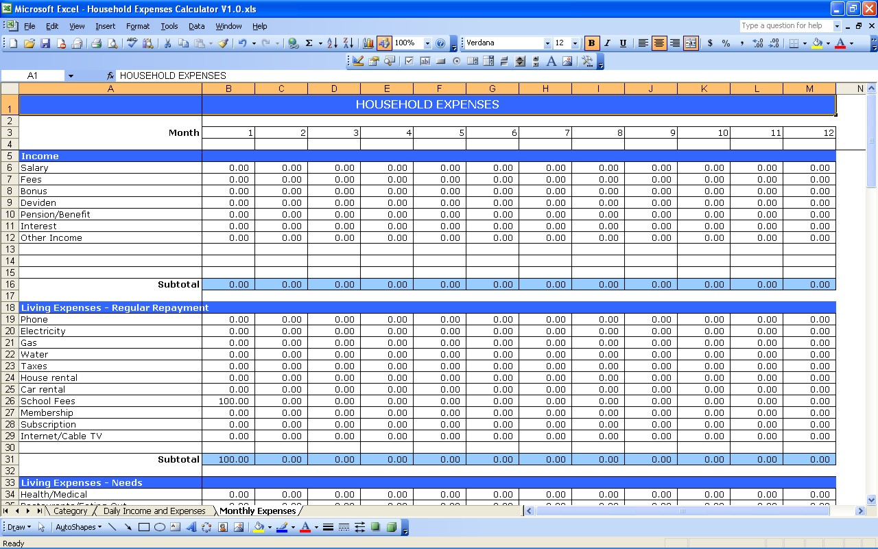 household expenses excel templates