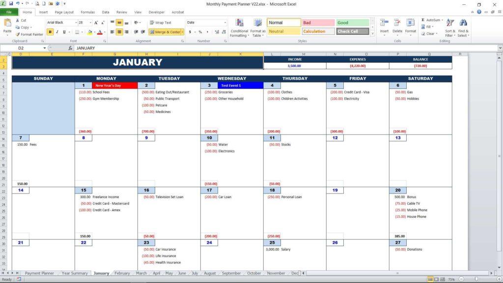 Monthly Calendar Views : Bill payment calendar excel templates