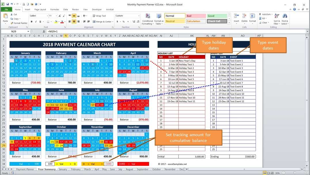 bill payment calendar excel templates. Black Bedroom Furniture Sets. Home Design Ideas