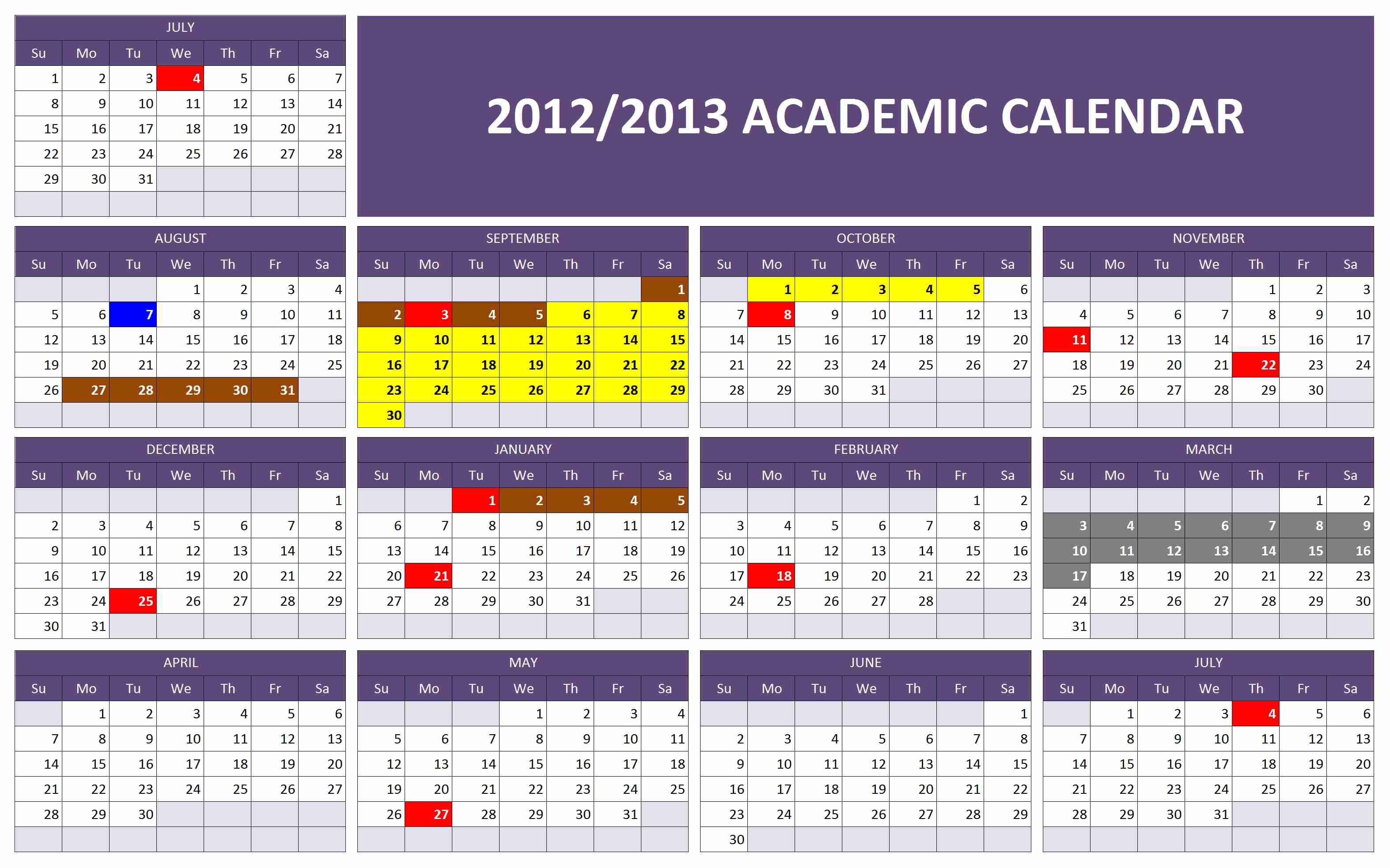 2012 2013 Academic Calendar