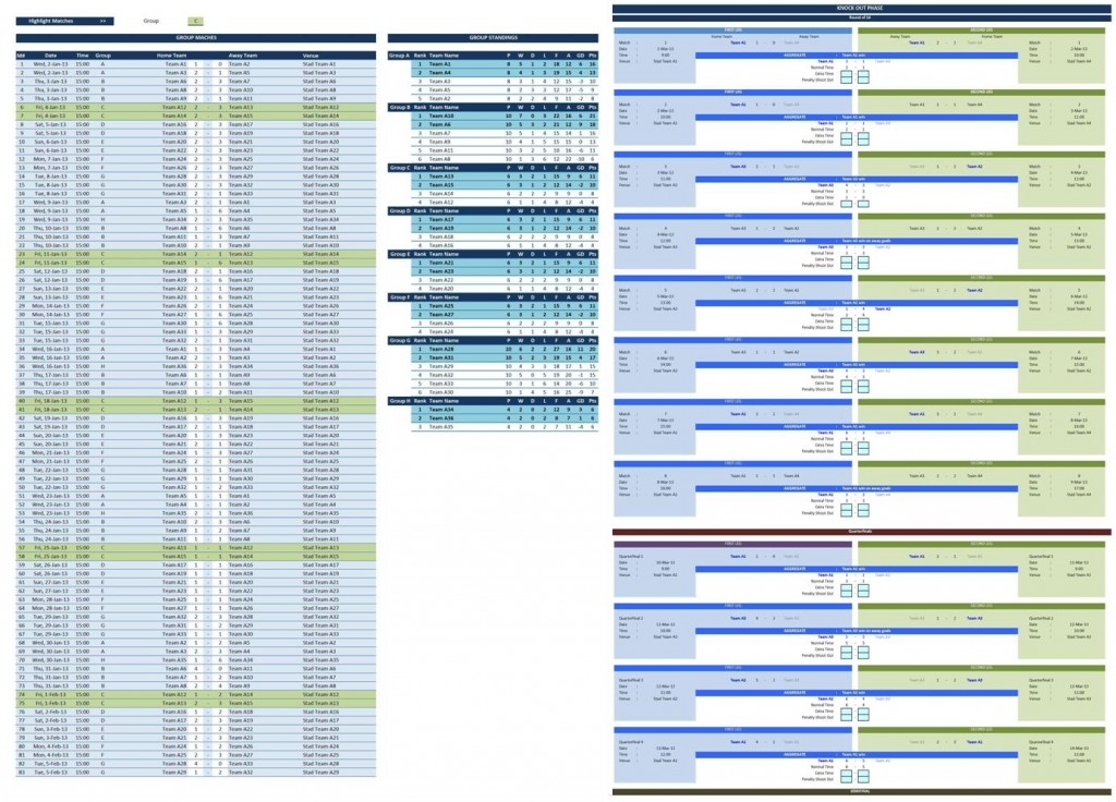 Soccer tournament creator excel templates for Tournament spreadsheet template
