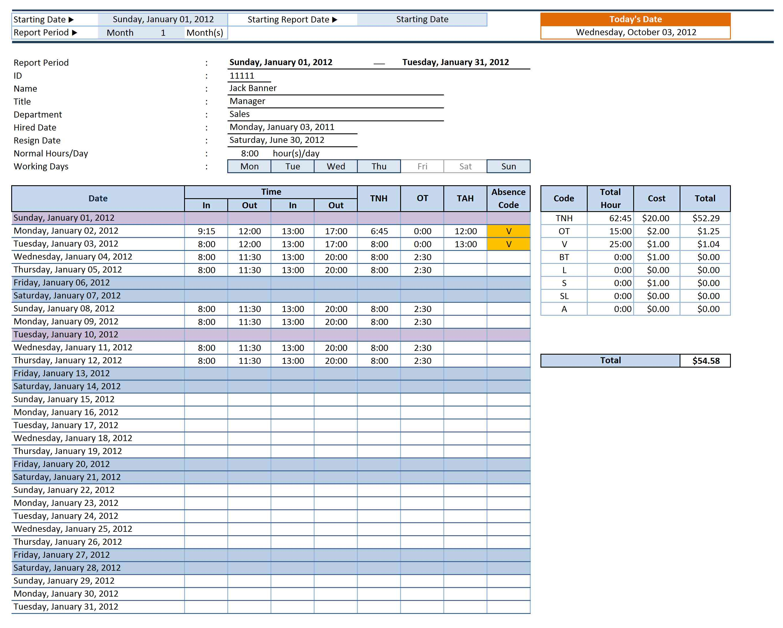 employee time sheet manager excel templates