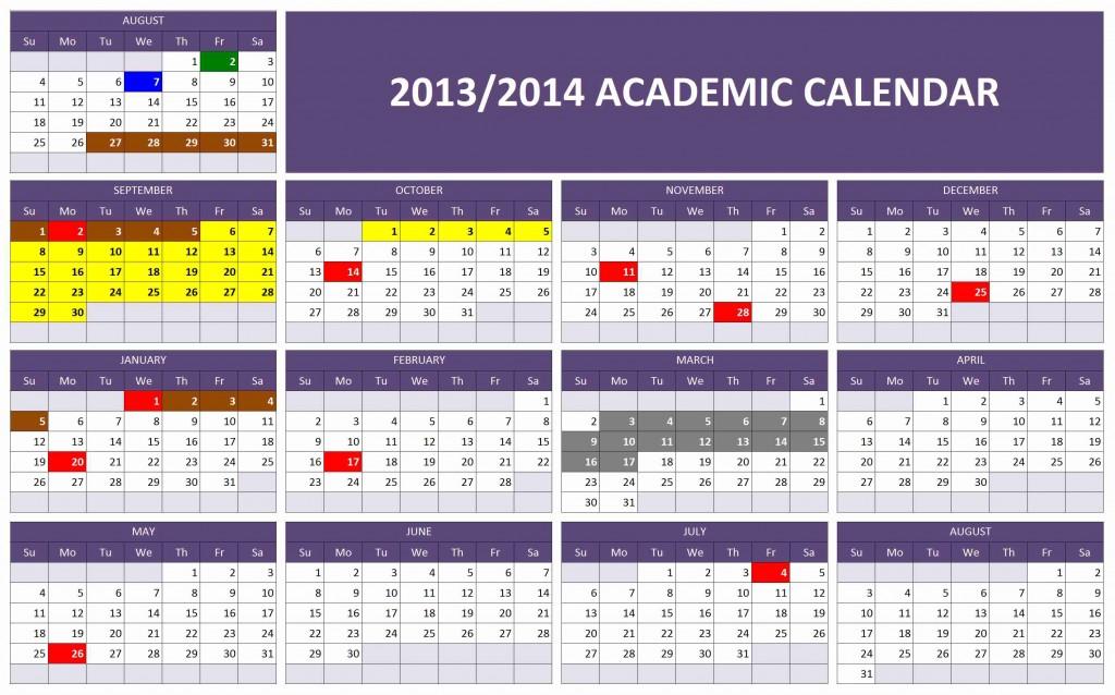 Excel template for 2013/2014 Academic Calendar