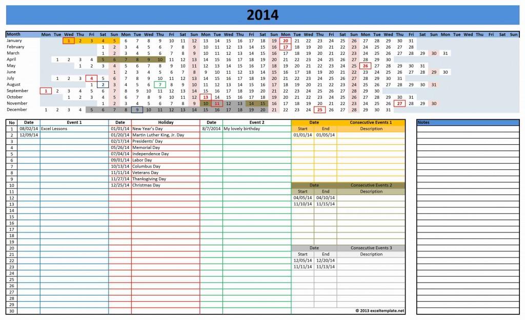 2014 Excel Calendar