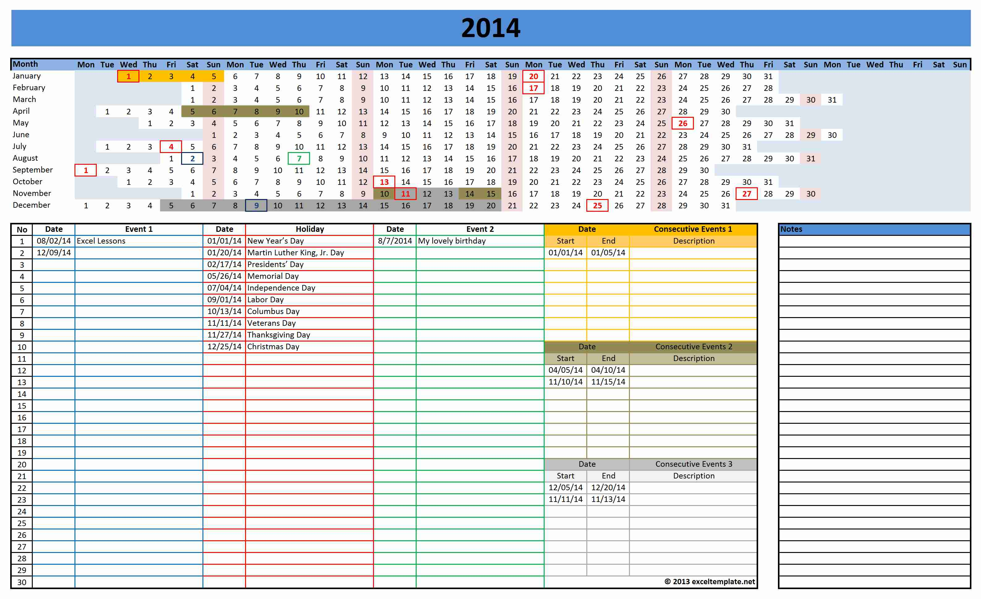 week calendar excel template