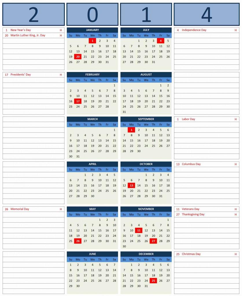 2014 calendar excel templates