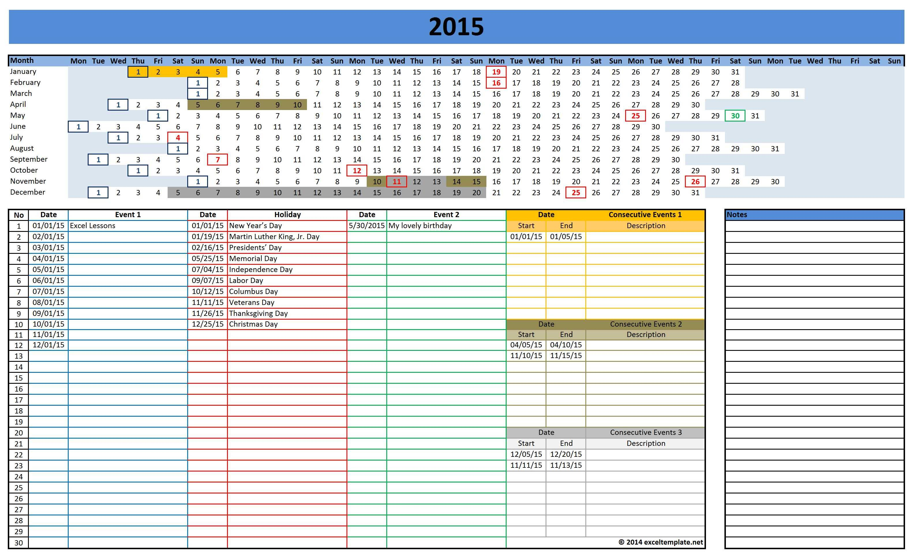 2015 linear calendar for excel 2015 calendar templates