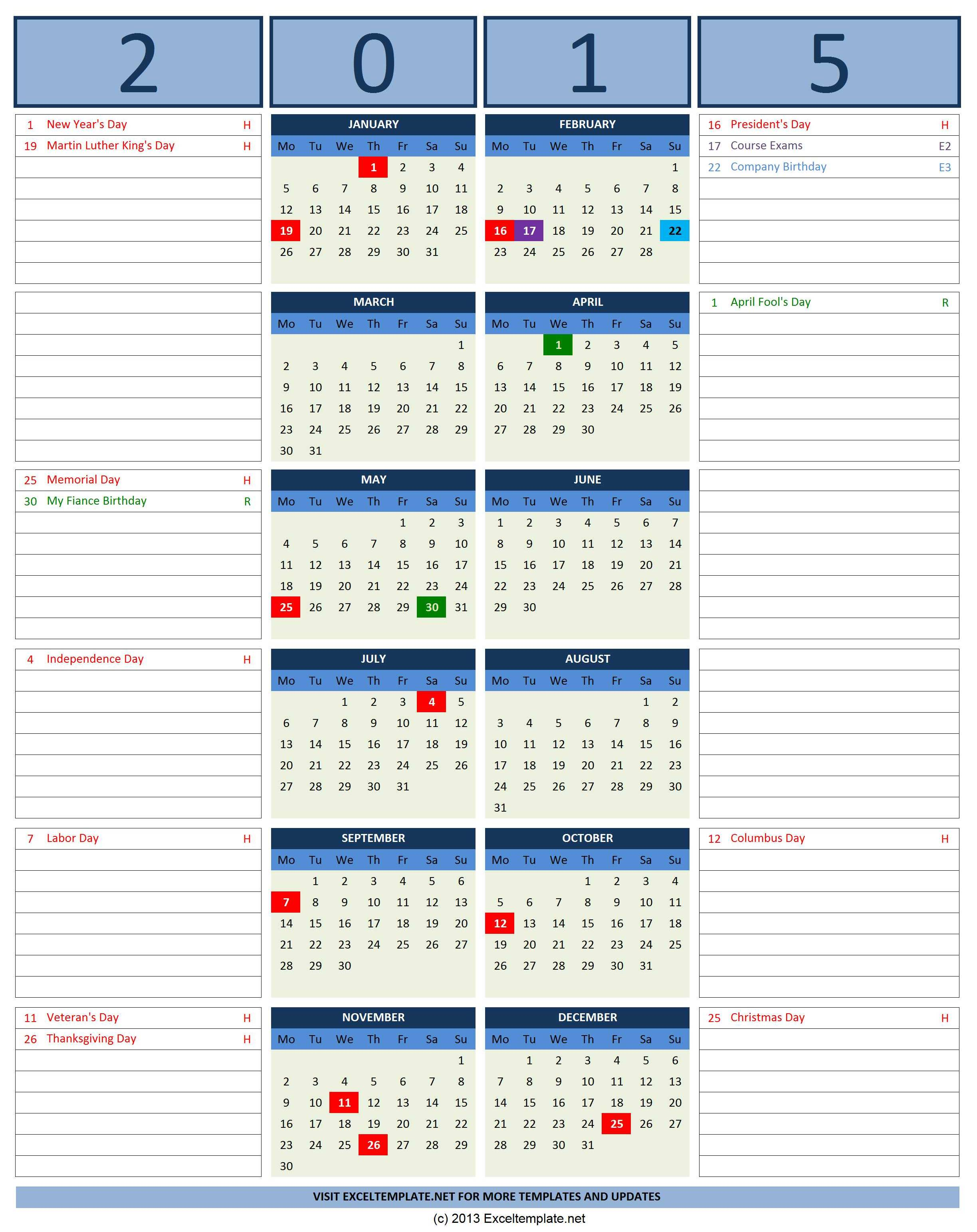 2015 Year Calendar with Side Note for Excel
