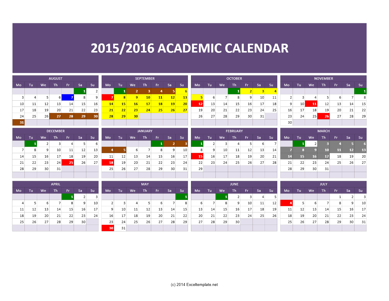 conflict calendar template - templates excel spreadsheets 2015 2016 academic