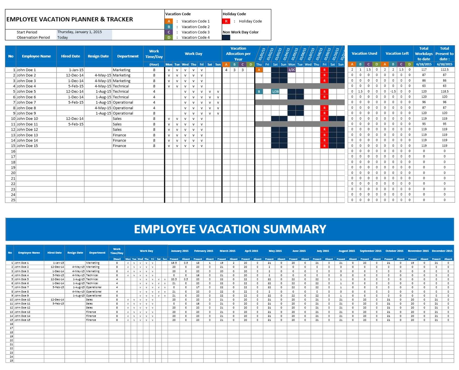 Superior Employee Vacation Planner