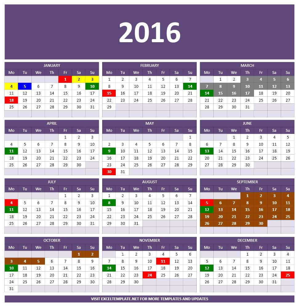 One Page 2016 Yearly Calendar - Excel