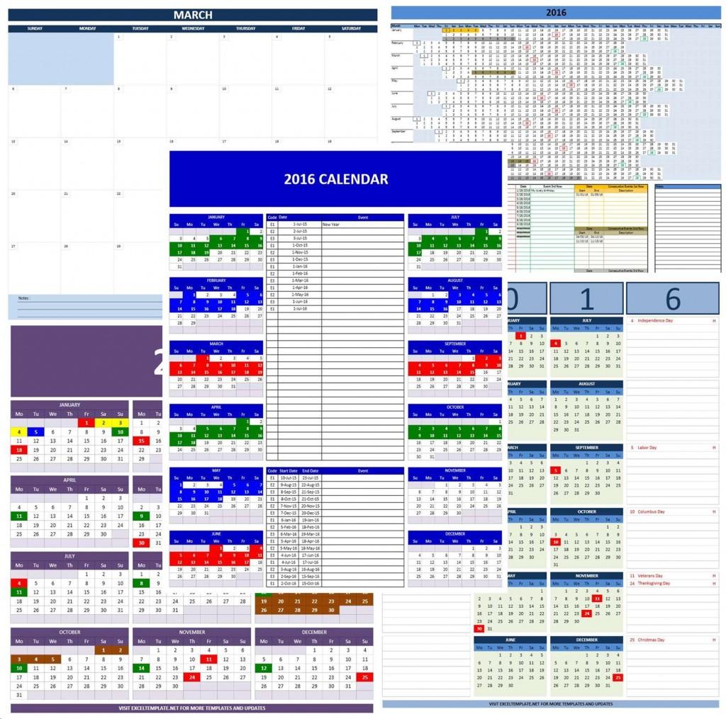 2016 Calendars - Excel