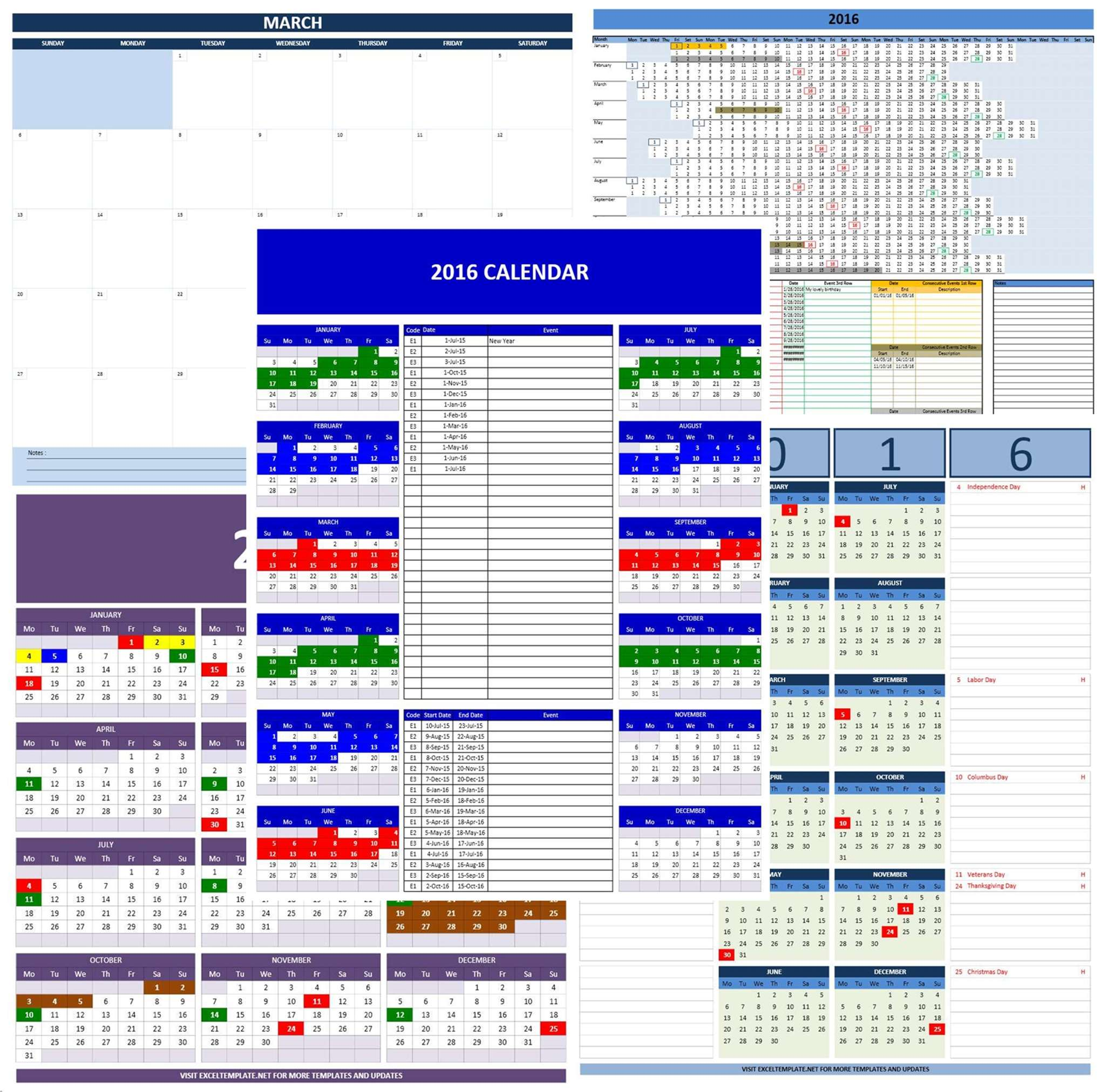 Year Calendar 2016 Excel : Calendars excel templates