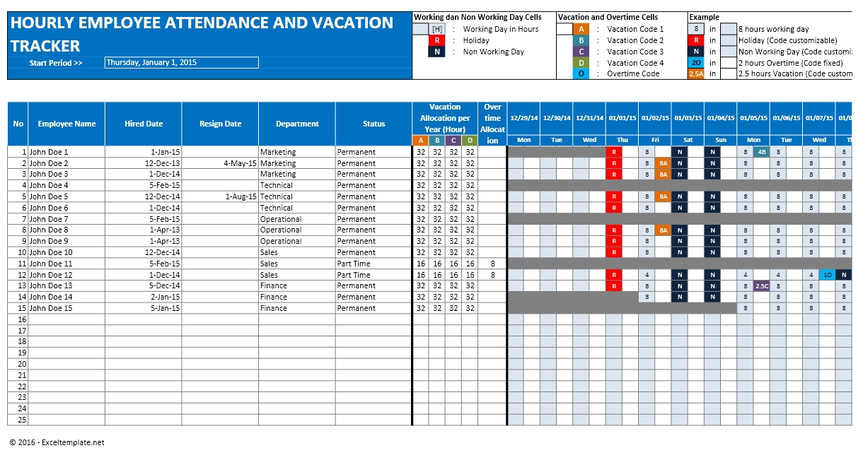 vacation tracking sheet