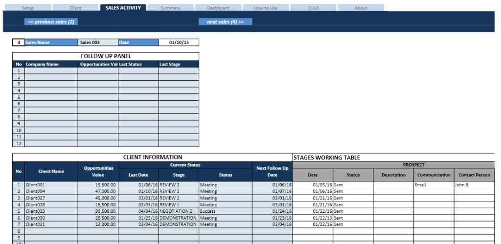 Sales Pipeline Spreadsheet - Sales Activity