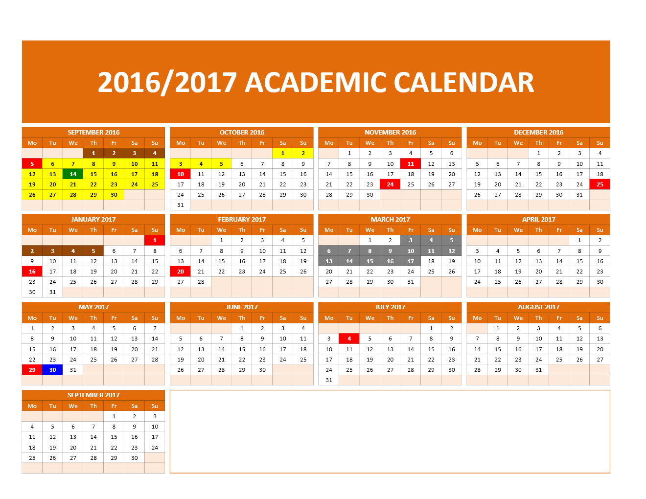 2016/2017 School Calendar Model 1   One Page Landscape Calendar
