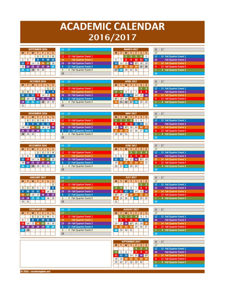 2016/2017 School Calendar Model 10