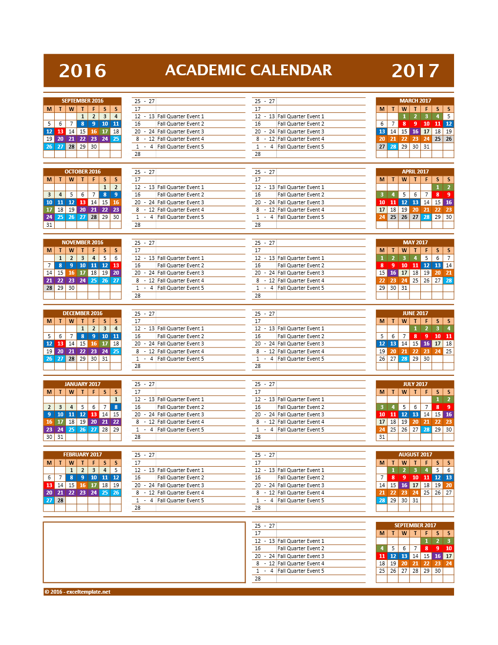 2017 2018 And 2016 2017 School Calendar Templates Excel Templates