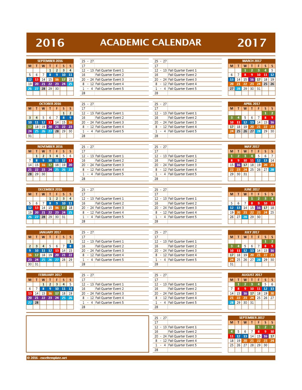 20172018 and 20162017 school calendar templates excel templates 20162017 school calendar model 12 alramifo Images