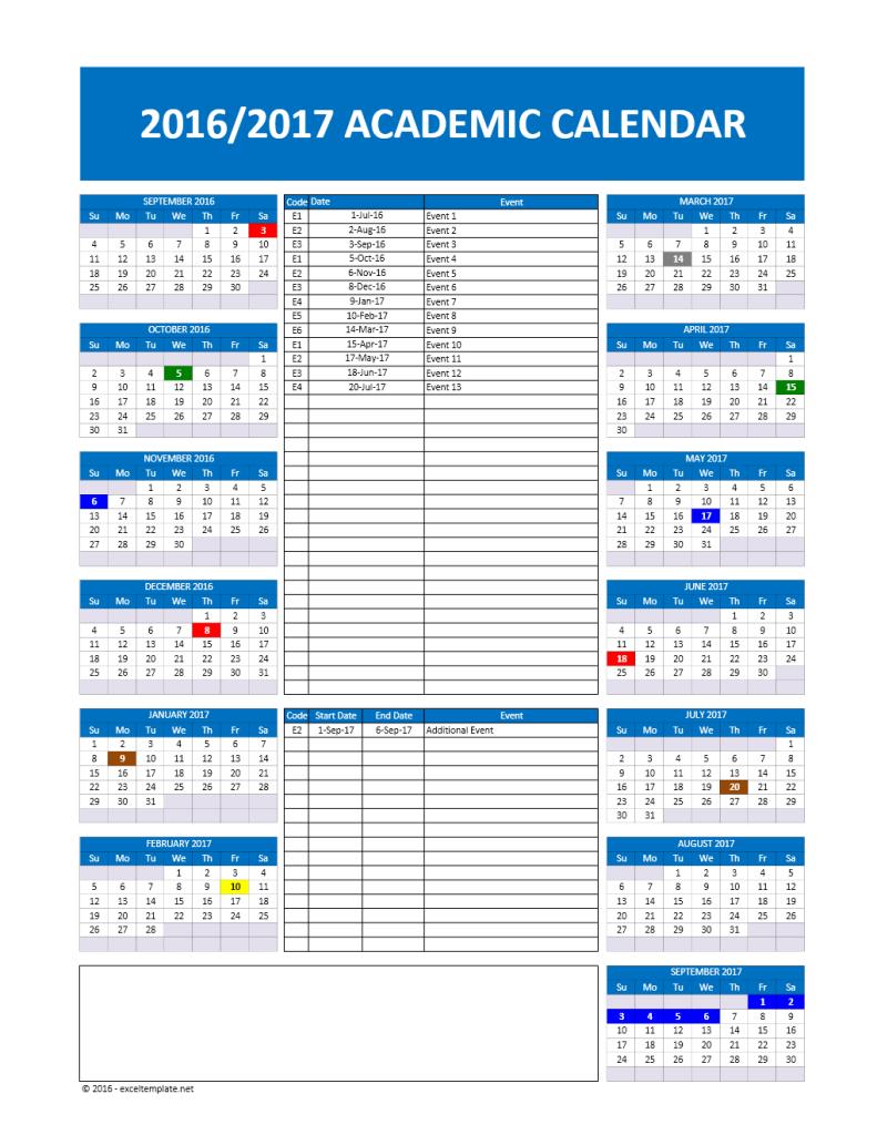 2016/2017 School Calendar Model 2