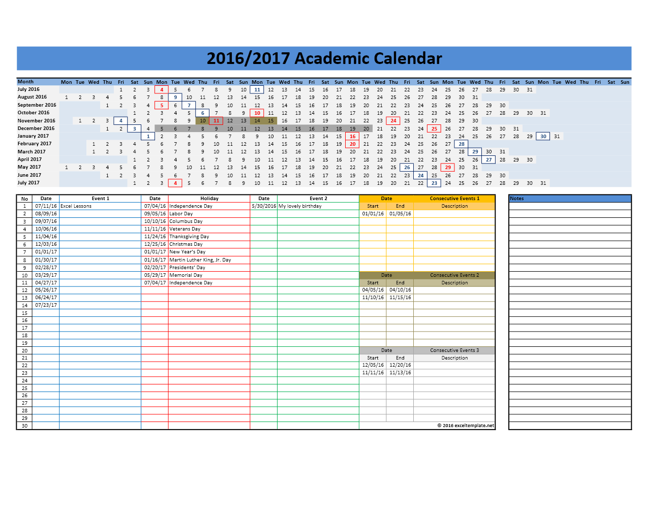 2016/2017 School Calendar Templates | Excel Templates