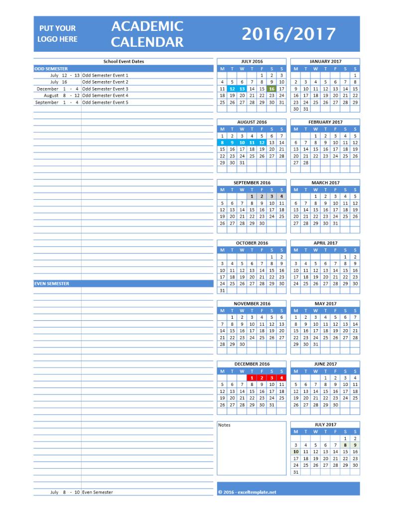 2016/2017 Calendar Model 4