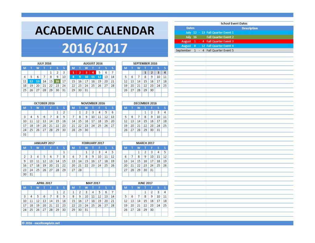 2016 2017 School Calendar Model 5 - Combined Dates