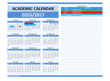 2016/2017 School Calendar Model 5 - Combined Dates