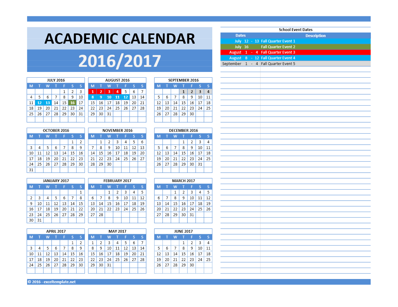 2016 2017 School Calendar Model 5   Combined Dates