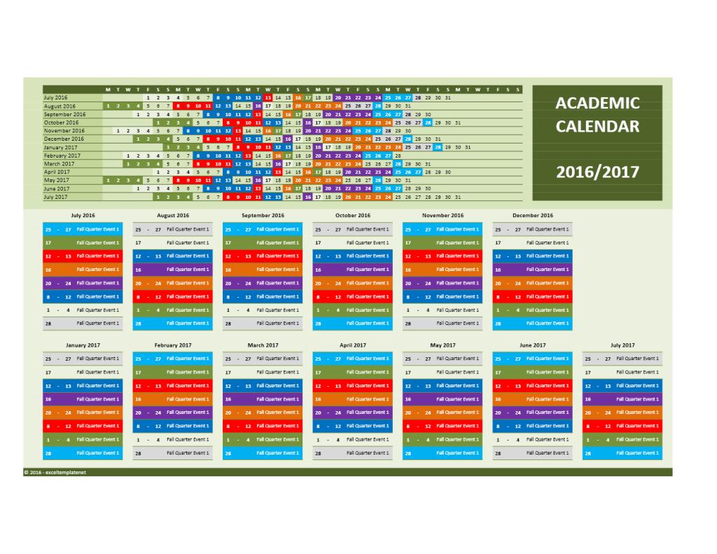 2016/2017 School Calendar Model 7 - Combined Dates