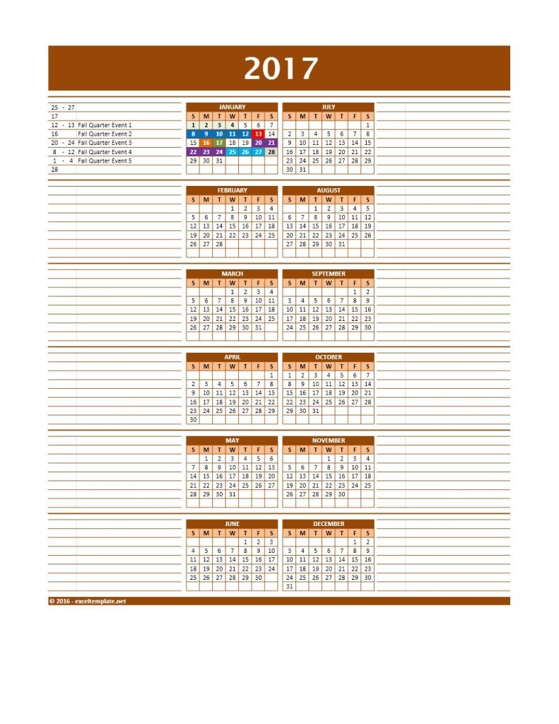 2017 Calendar Template Model 11