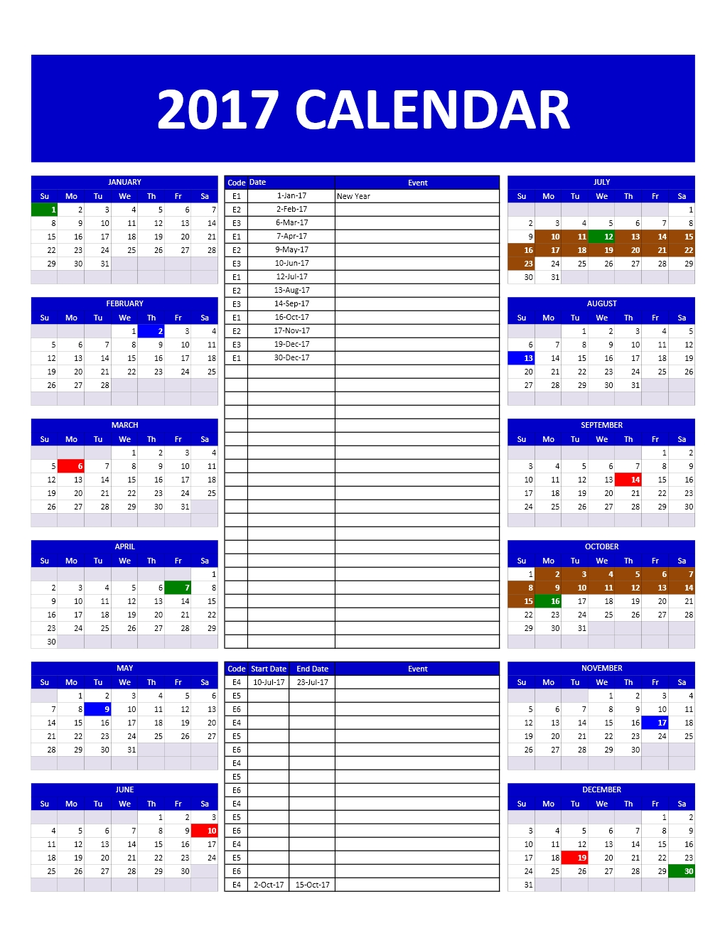 2017 and 2018 calendars excel templates for Annual calendar of events template