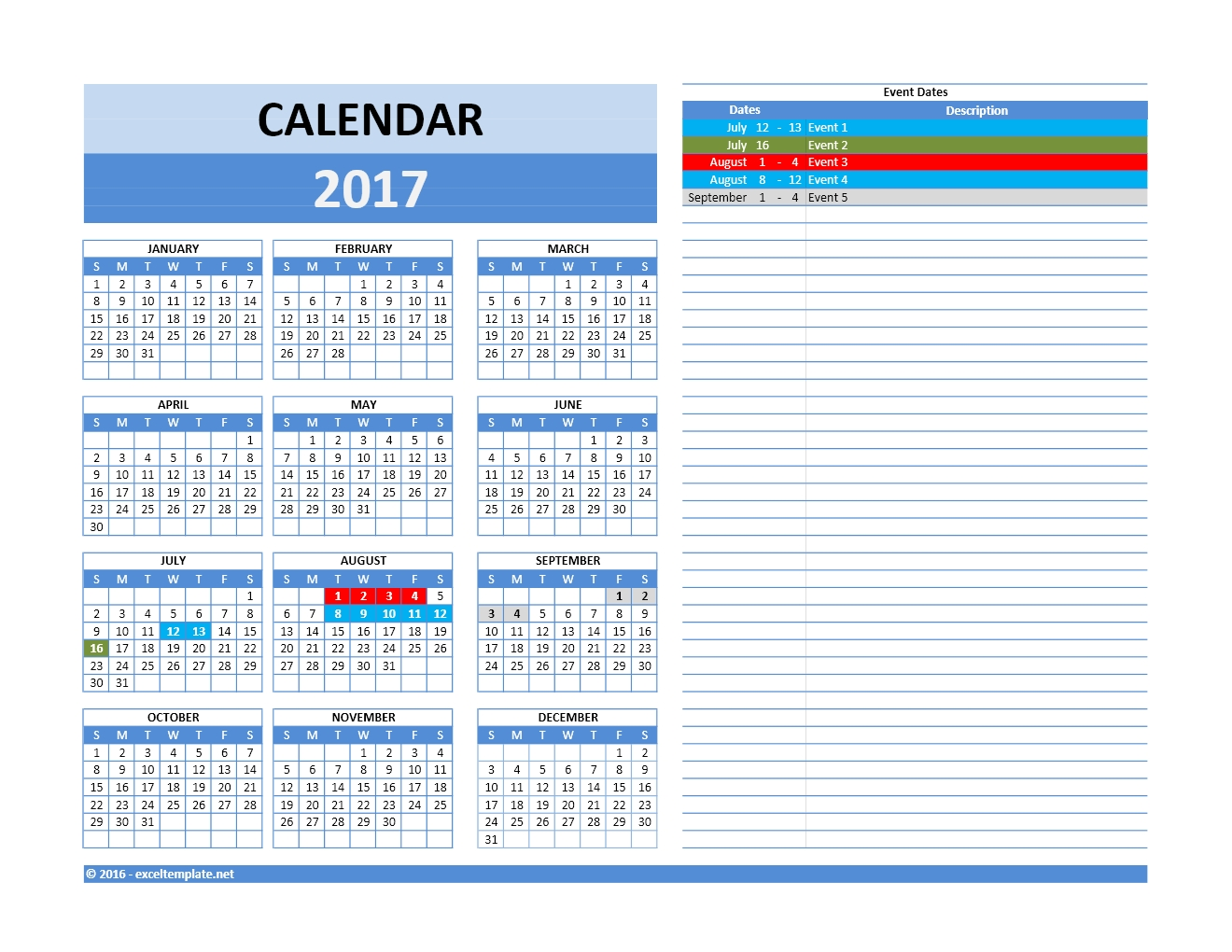 Calendar Planner Excel Template : And calendars excel templates