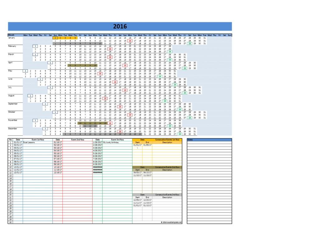 2017 Calendar Template Model 8