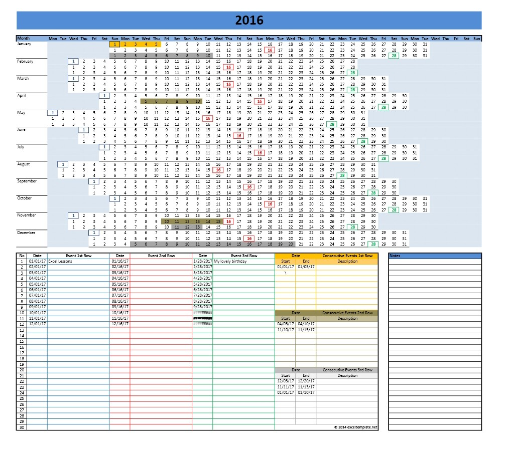 2017 and 2018 Calendars | Excel Templates