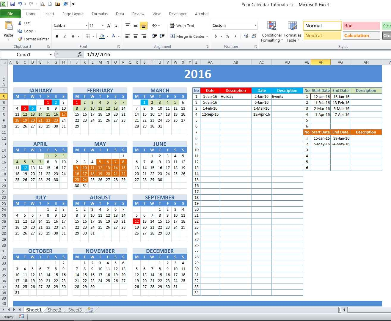 how to create year and school calendar with dynamic date