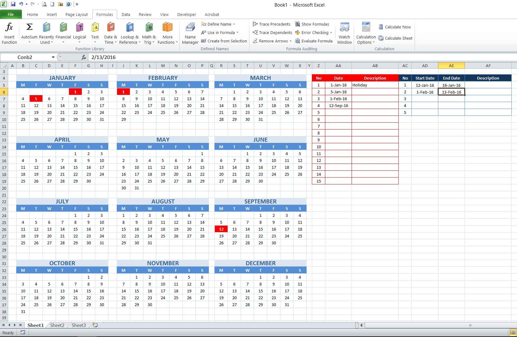 how to create year and school calendar with dynamic date markers