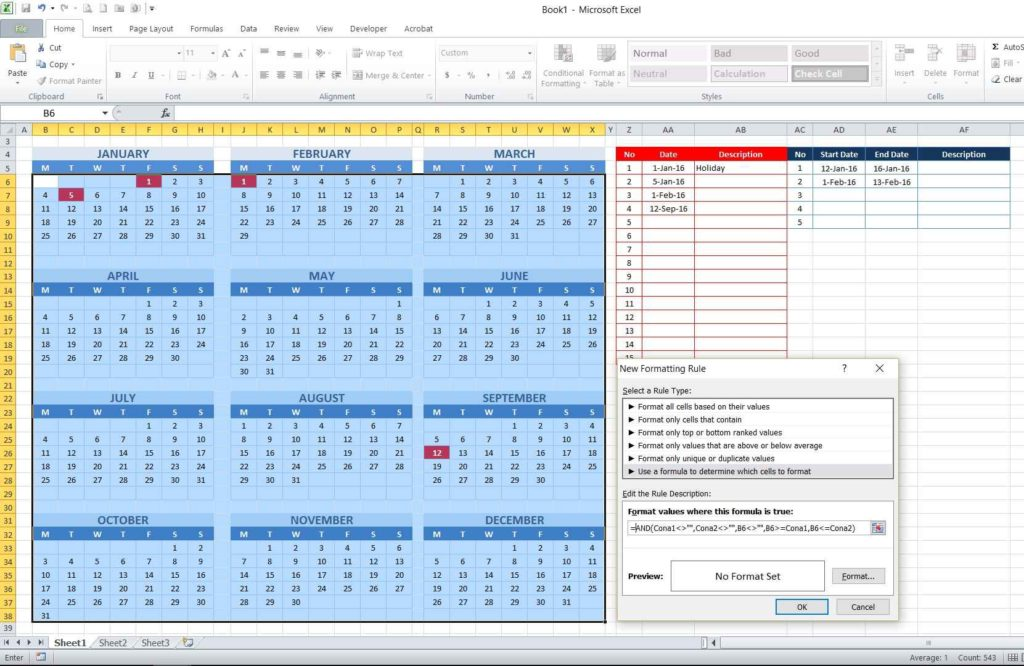 Picture 16 - Creating conditional formatting formula for consecutive dates table