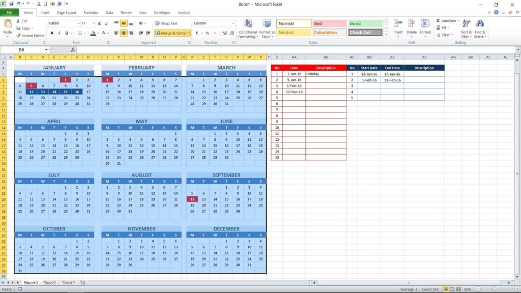 Picture 17 - Conditional formatting result for consecutive date table
