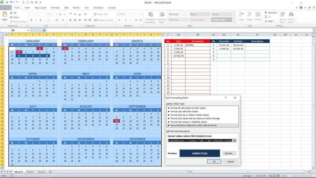 Picture 19 - Pasting complete conditional formatting formula for consecutive date table