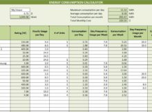 Energy Consumption Calculator Template Excel