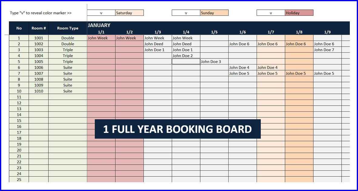 Room Booking Calendar - Booking Board