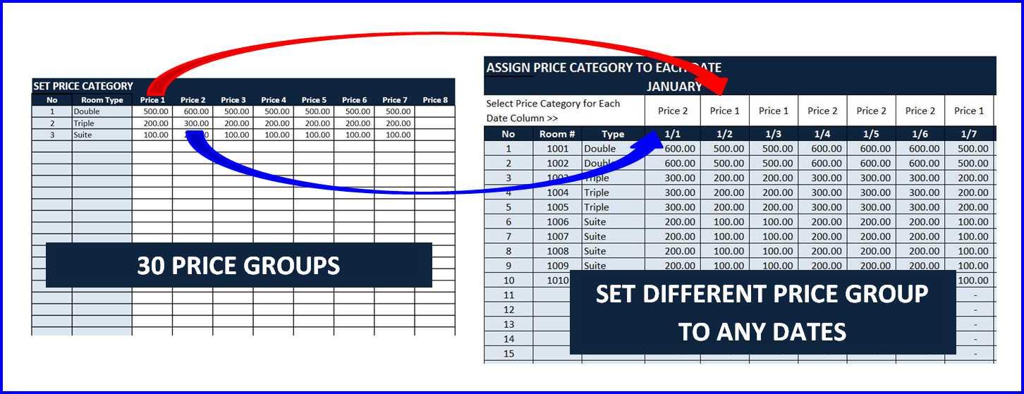 Room Booking Calendar - Set Price