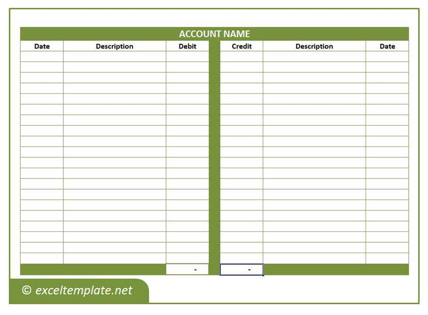General Ledger T Account Template  Free General Ledger Template